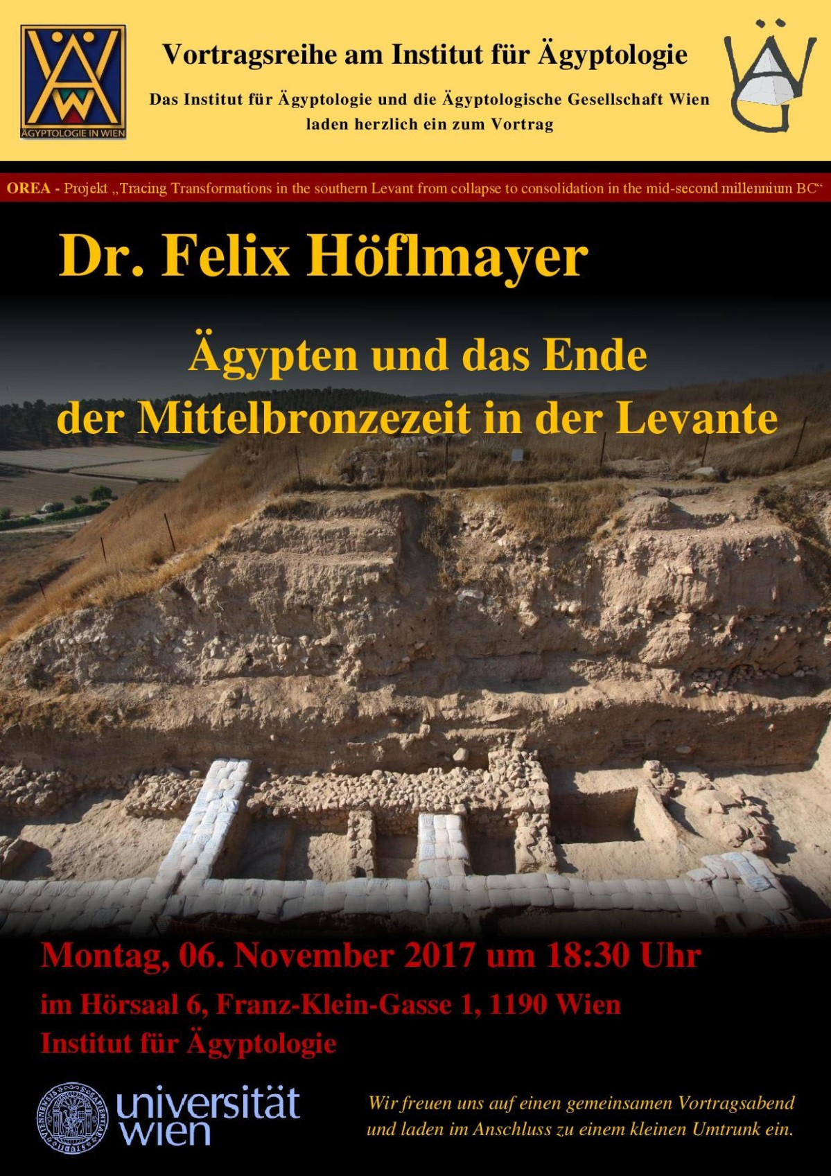Lecture by Felix Höflmayer on Egypt and the end of the Middle Bronze Age in the Levant