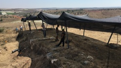 Building shadecloth in Area P