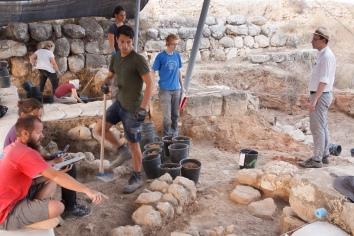 Excavating walls in Area P