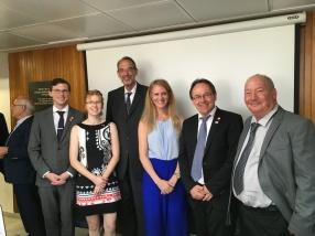Meeting of the Austrian Minister of Education at Hebrew University with Ilan Sharon, Klement Tockner, Katja Cytrin-Silverman, Felix and Kat